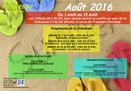 Planning du mois d`août de l`ALSH Jean Jaurès