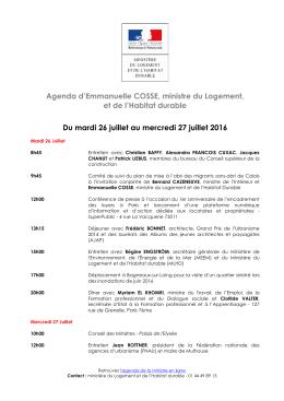 Télécharger l`agenda de la semaine - Ministère du Logement et de l