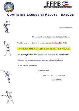 PROGRAMME DE LA 78ème GRANDE SEMAINE DE PELOTE
