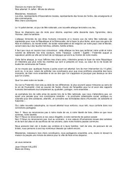 Discours du Maire suite aux attentats de Nice