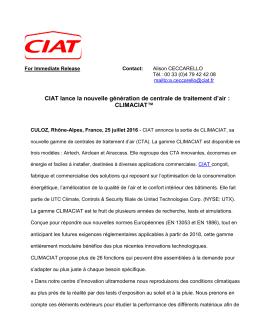 CIAT lance la nouvelle génération de centrale de traitement d`air