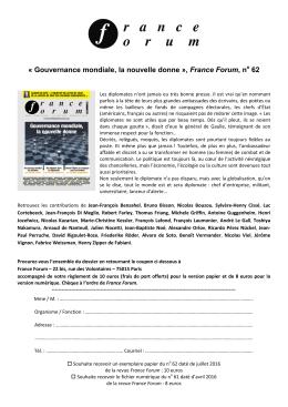 « Gouvernance mondiale, la nouvelle donne », France Forum, n 62