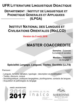 MASTER COACCREDITE - ilpga - Université Sorbonne Nouvelle