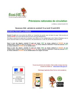 Prévisions nationales de circulation - Lyon