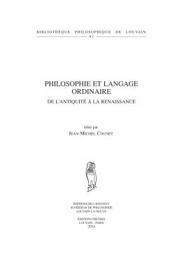 philosophie et langage ordinaire