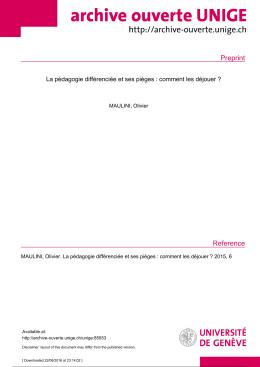 Preprint - Archive ouverte UNIGE