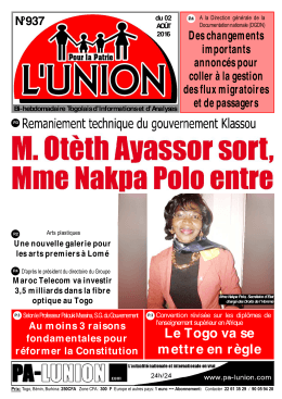 L`Union N°937 - République Togolaise