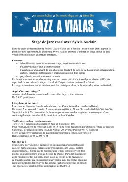 Stage de jazz vocal avec Sylvia Auclair