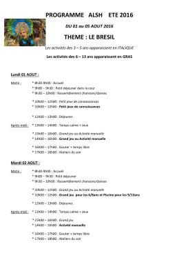 Programme 1er au 5 août