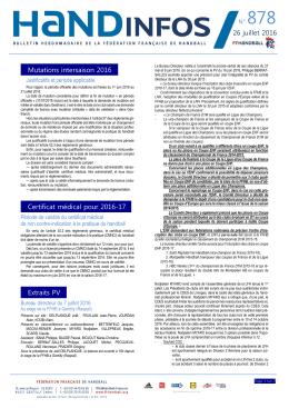 N° 878 - Fédération française de handball