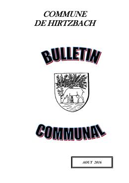bulletin communal Hirtzbach août 2016