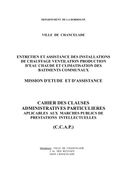cahier des clauses administratives particulieres (ccap)
