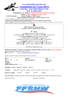 Bulletin d`inscription - Ski Nautique : Laroche