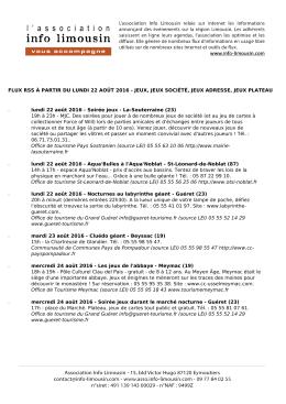 FLUX RSS À PARTIR DU MARDI 16 AOÛT 2016