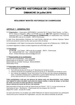 Règlement Montée Historique - Course de côte de Chamrousse