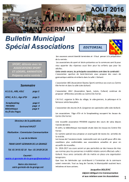 Bulletin Municipal Spécial Associations EDITORIAL - saint