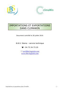 importations et exportations dans climawin