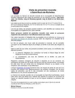 Les pompiers de la Ville de Saint-Roch de Richelieu vont débuter