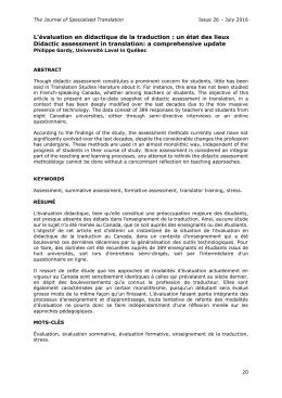 L`évaluation en didactique de la traduction : un état des