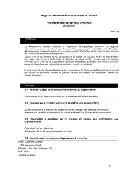 Formulaire de proposition d`inscription