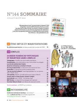 n°144 sommaIre - Être Handicap Information