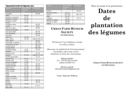 Dates de plantation des légumes - The Urban Farm Museum Society
