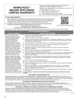 whirlpool® major appliance limited warranty