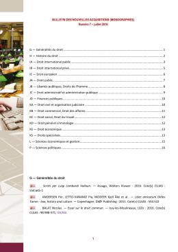 BULLETIN DES NOUVELLES ACQUISITIONS (MONOGRAPHIES