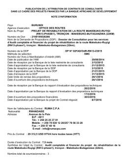 PROJET DE REHABILITATION DE LA ROUTE MAKEBUKO