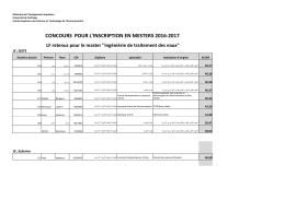 CONCOURS POUR L`INSCRIPTION EN MESTERS 2016-2017