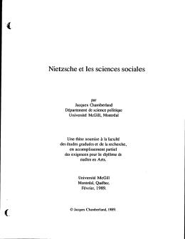 Nietzsche et les sciences sociales