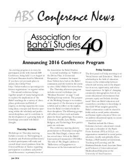 Conference News - Association for Bahá`í Studies