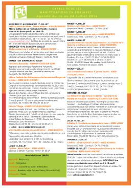Agenda du 16 au 24 Juillet 2016