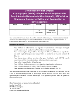 Convention Premier Emploi - Federal Public Service Foreign Affairs