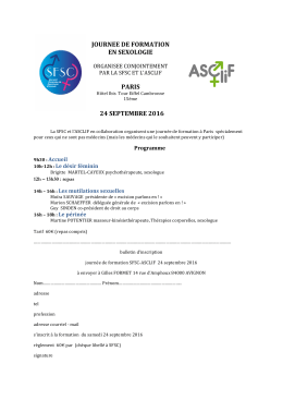 JOURNEE DE FORMATION EN SEXOLOGIE PARIS 24