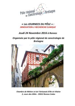 « Les JOURNEES DU PÔLE » : Jeudi 24 Novembre 2016 à Rennes
