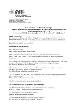 Programme - Université de Genève