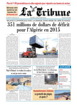 351 millions de dollars de déficit pour l`Algérie en 2015