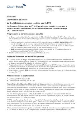 Le Credit Suisse annonce ses résultats pour le 2T16