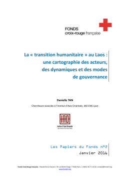 La « transition humanitaire » au Laos - Fonds Croix