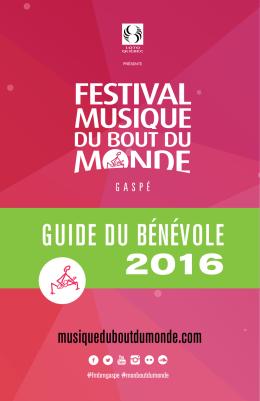 guide du bénévole 2016 - Festival Musique du Bout du Monde