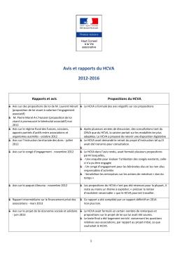 Avis et rapports du HCVA 2012-2016