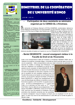 Bimestriel de la coopération de l`Université Kongo