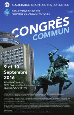 9 et 10 Septembre 2016 - Groupement Belge des Pédiatres de
