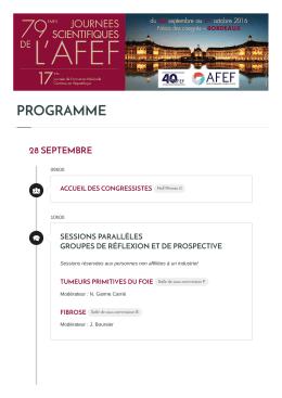 Téléchargez le programme des 79 èmes Journées Scientifiques de l