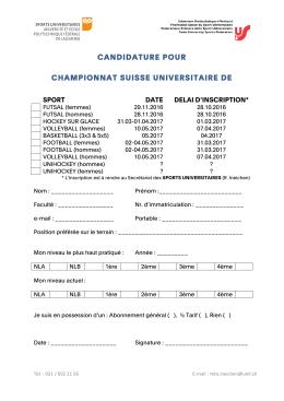 candidature pour championnat suisse universitaire de