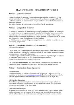 Règlement Intérieur Flamenco libre