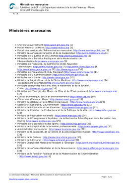 Ministères marocains - Loi Organique relative à la loi de Finances