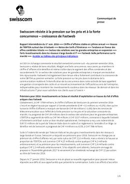 Swisscom résiste à la pression sur les prix et à la forte concurrence