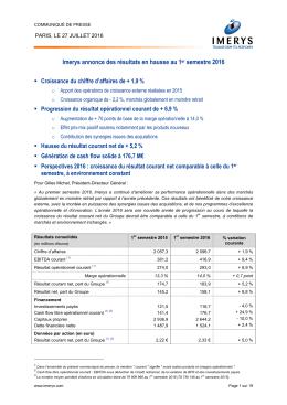 Imerys annonce des résultats en hausse au 1er semestre 2016
